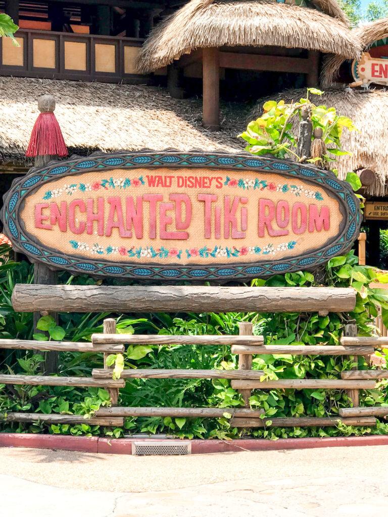Enchanted Tiki Room sign at Magic Kingdom