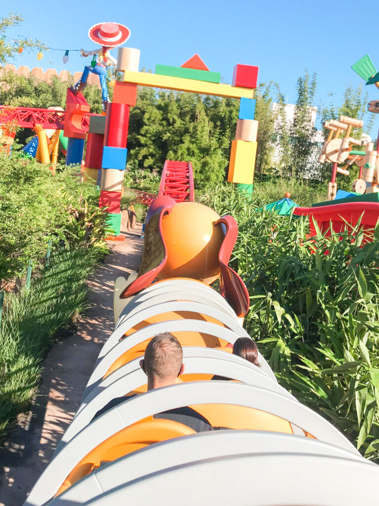 View riding on Slinky Dog Dash at Hollywood Studios.