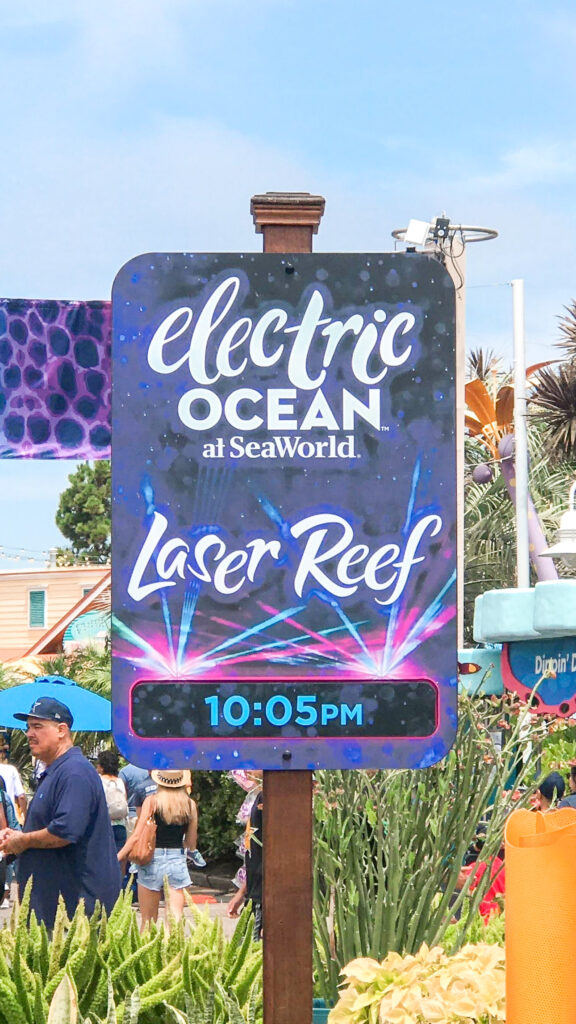 Sign for Electric Ocean event at Sea World.