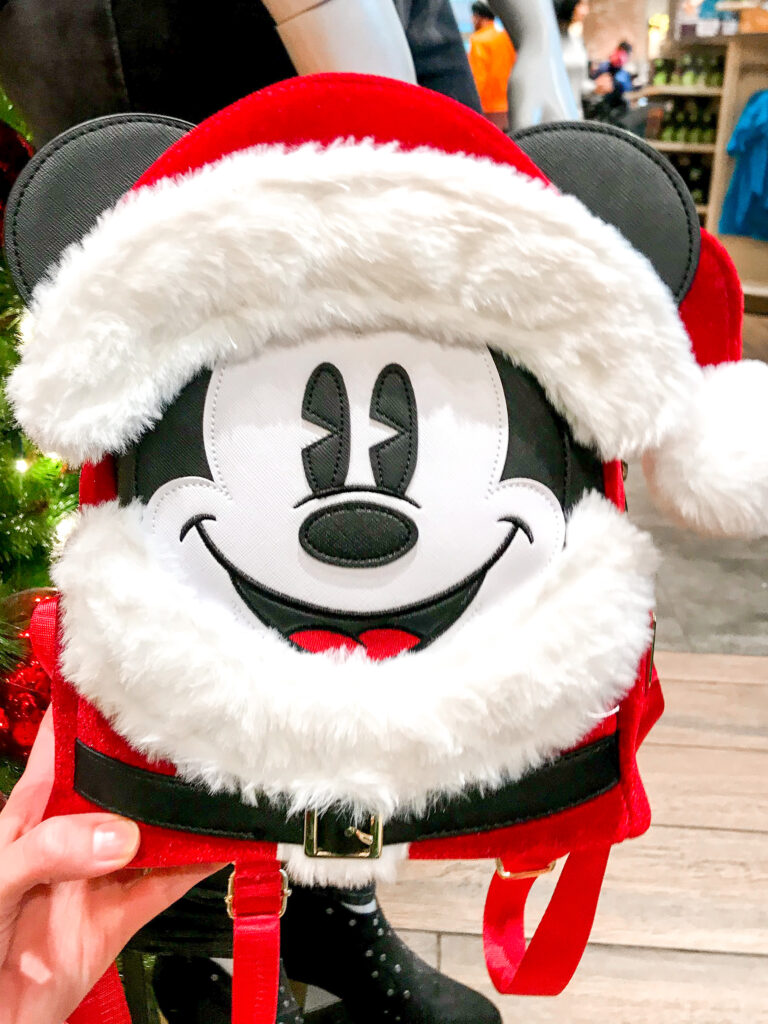 Santa Mickey Mouse Loungefly Backpack.