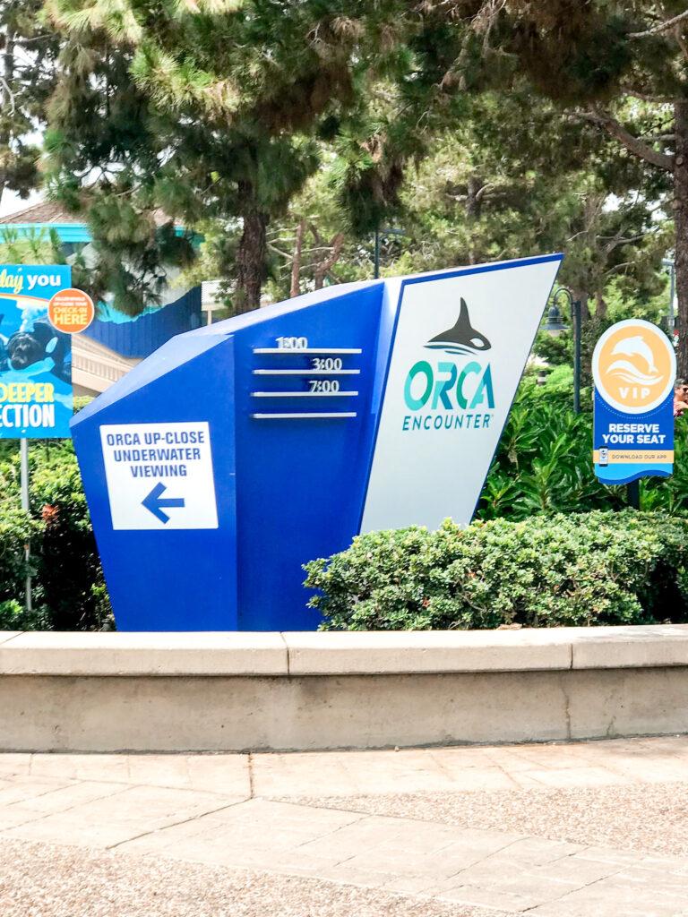 Orca Encounter entrance sign.