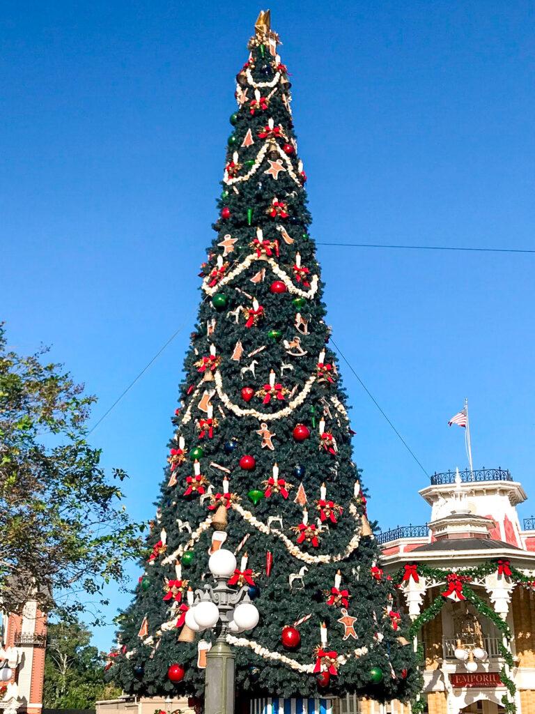 Christmas Tree on Main Street in Magic Kingdom.