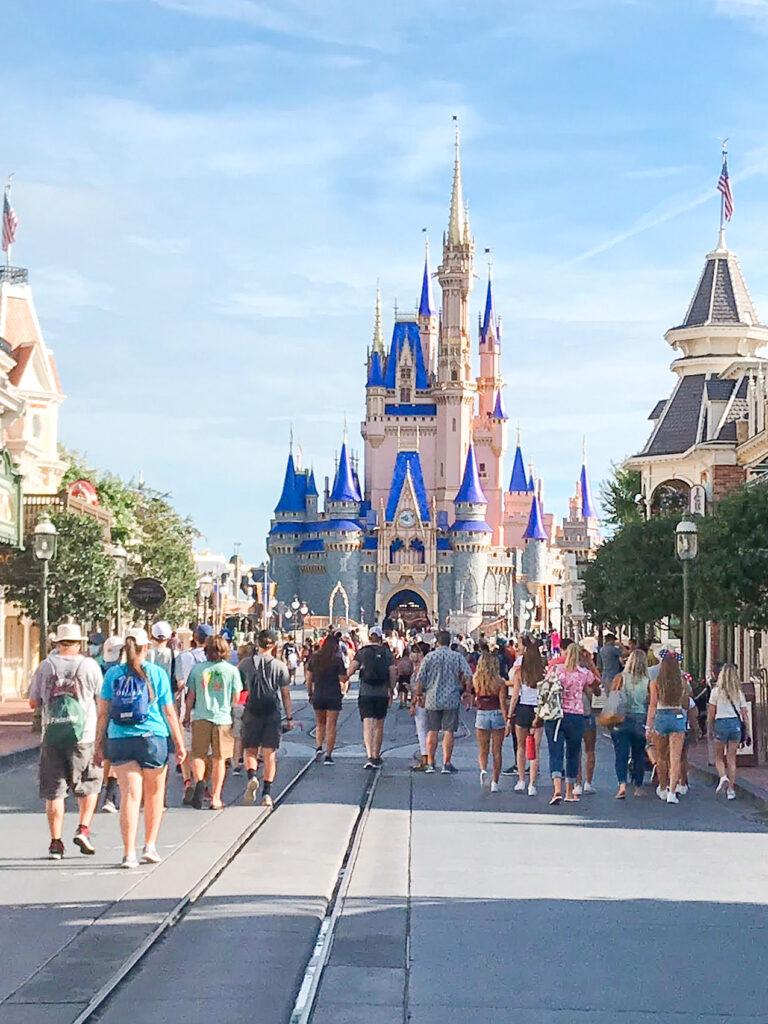 Cinderella Castle and Main Street USA at Disney World.