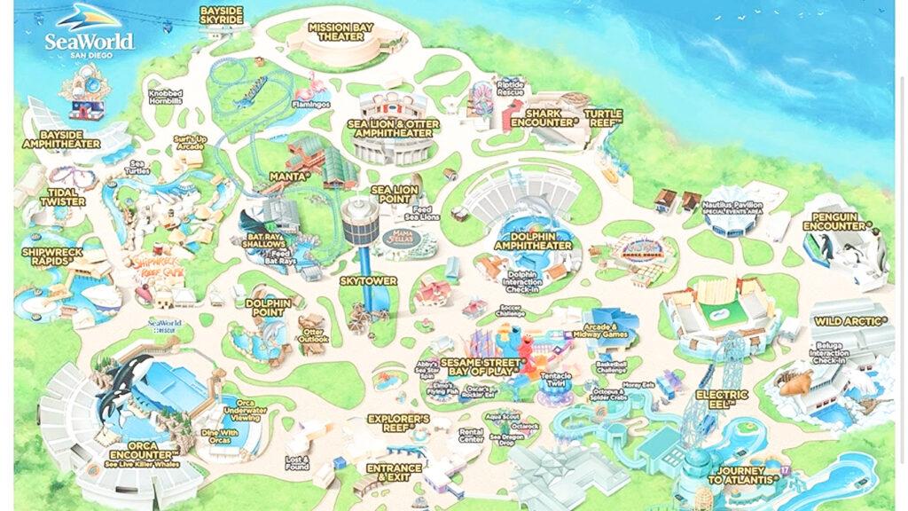 Map of Sea World San Diego.