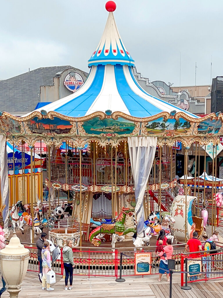 Two story carousel at Pier 39.
