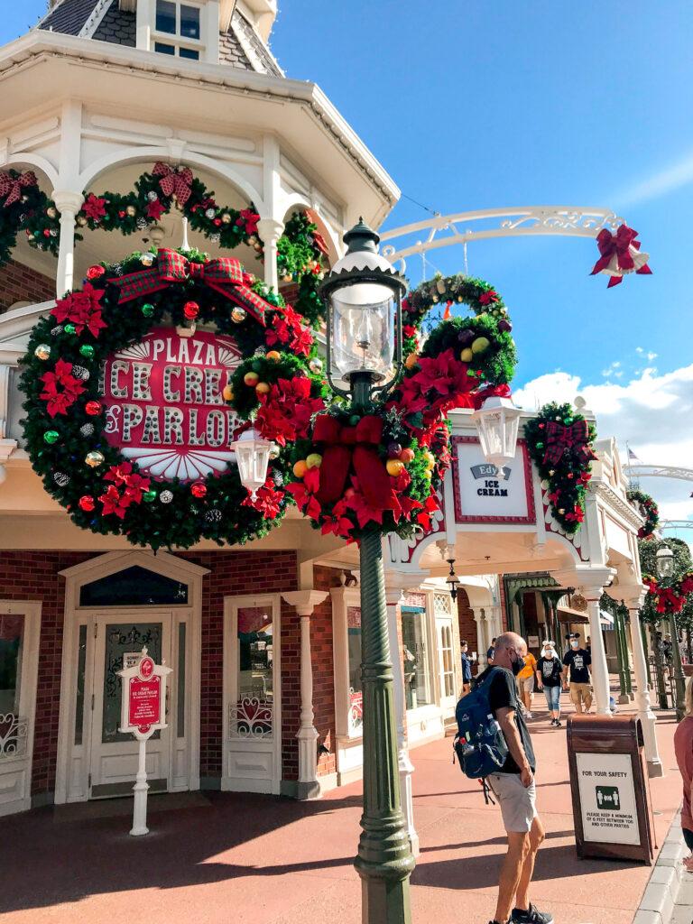 Main Street USA at Magic Kingdom decorated for Christmas.