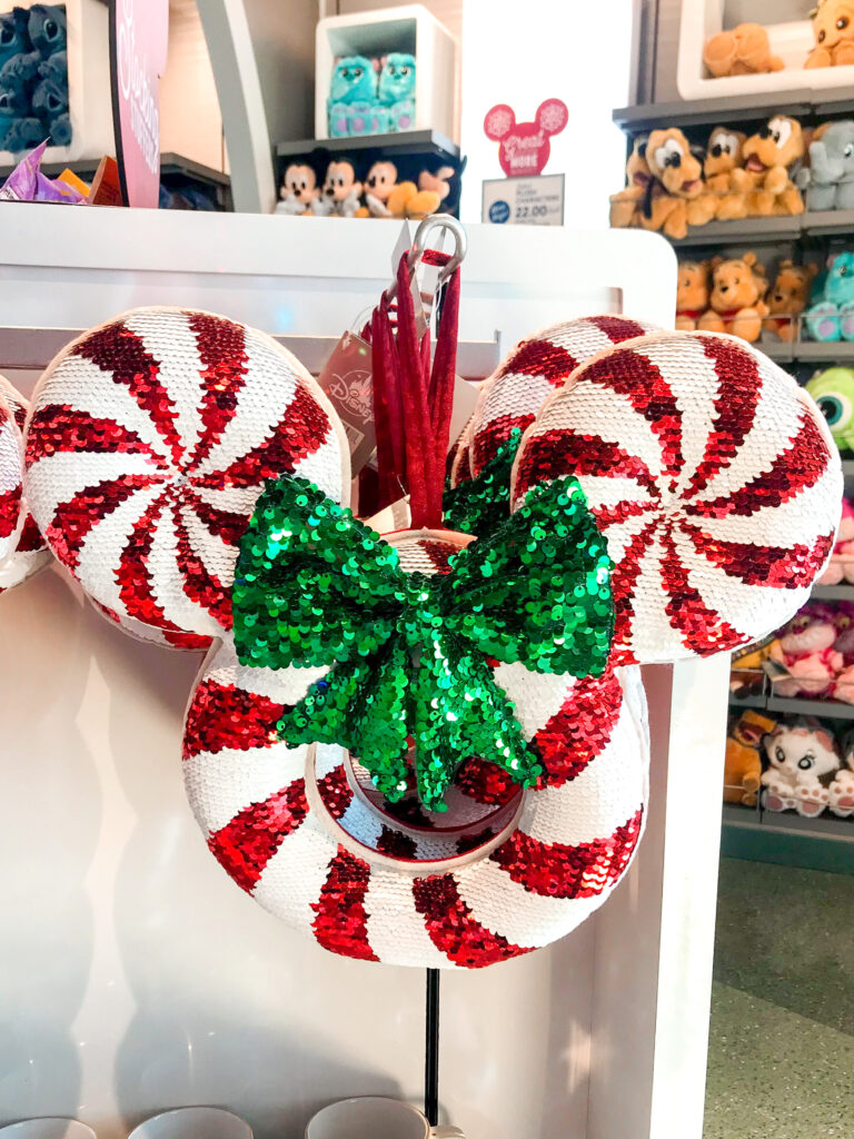 Red and white Mickey Mouse shaped Christmas wreath.
