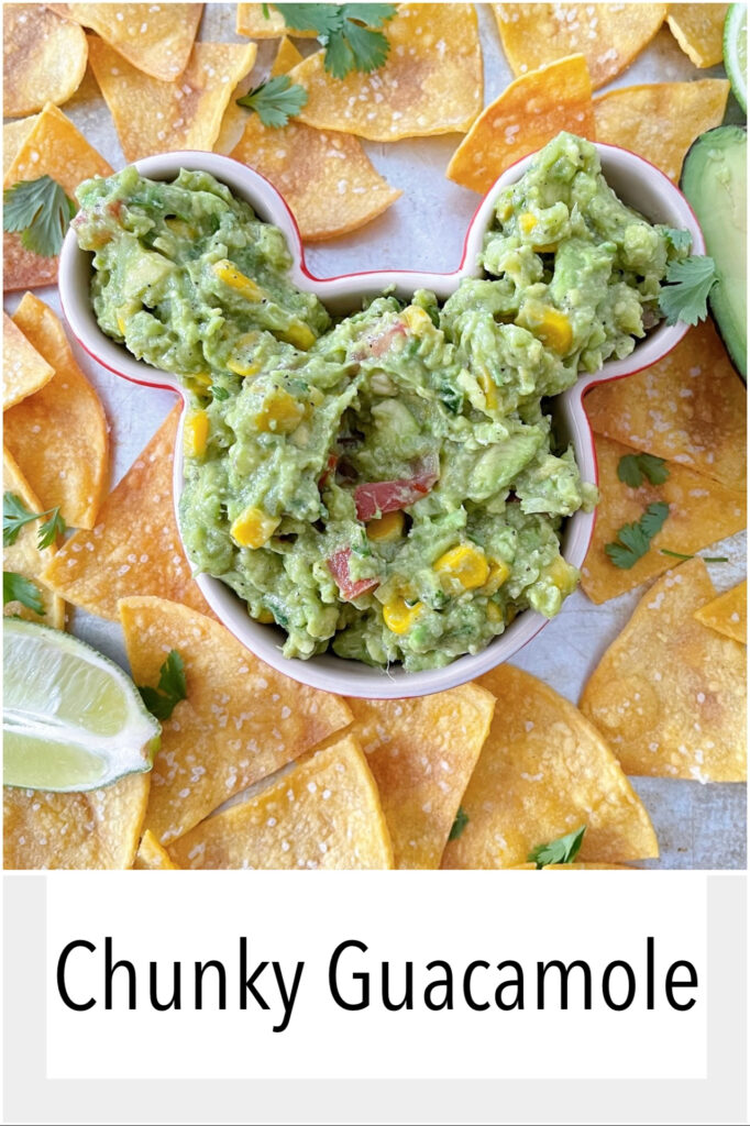 Chunky guacamole and chips.
