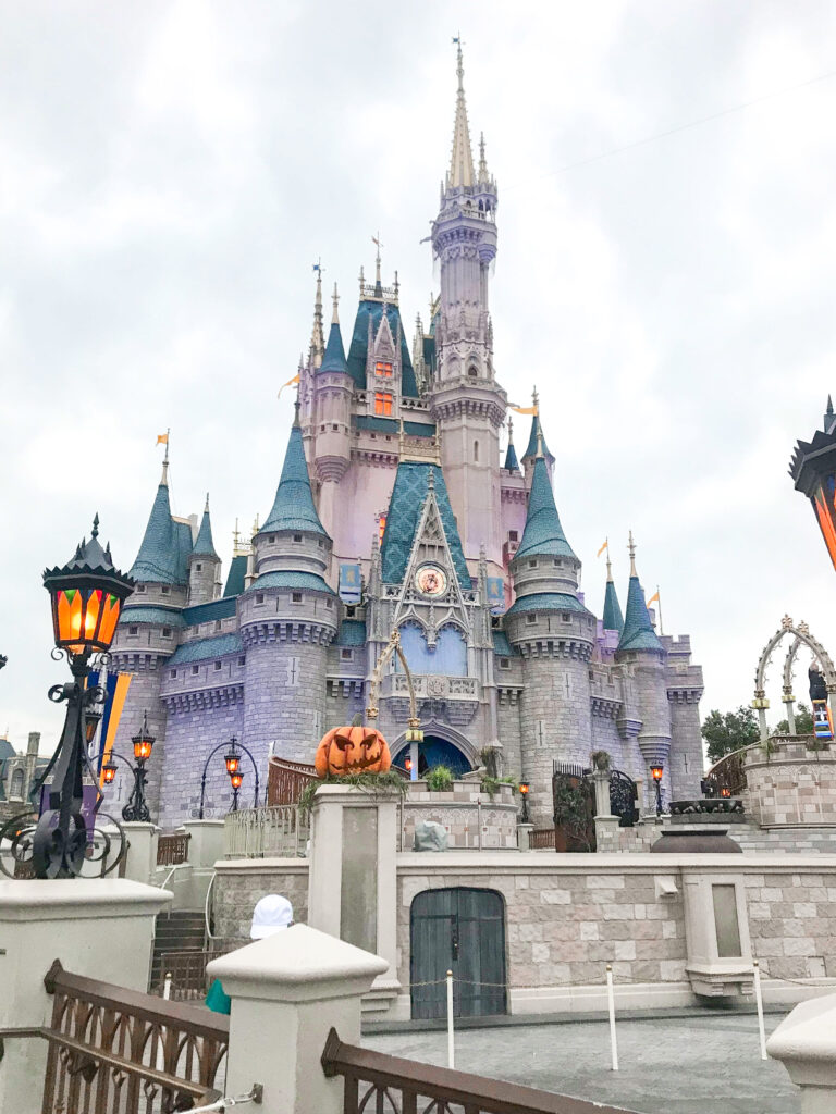 Cinderella Castle decorated for Halloween.
