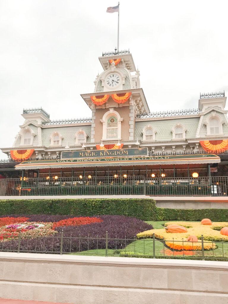 Magic Kingdom train staton decorated for Halloween.