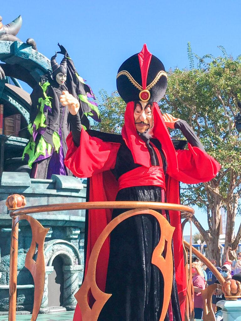 Jafar from Aladdin in a cavalcade at Magic Kingdom.