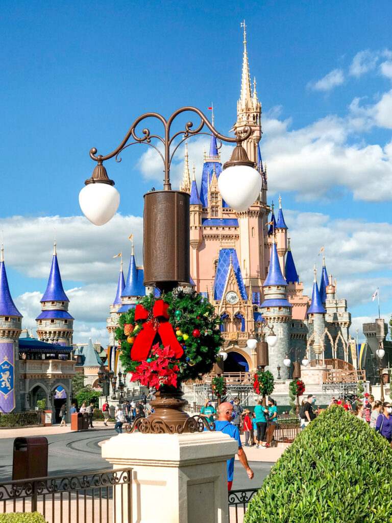 Cinderella Castle decorated for Christmas.
