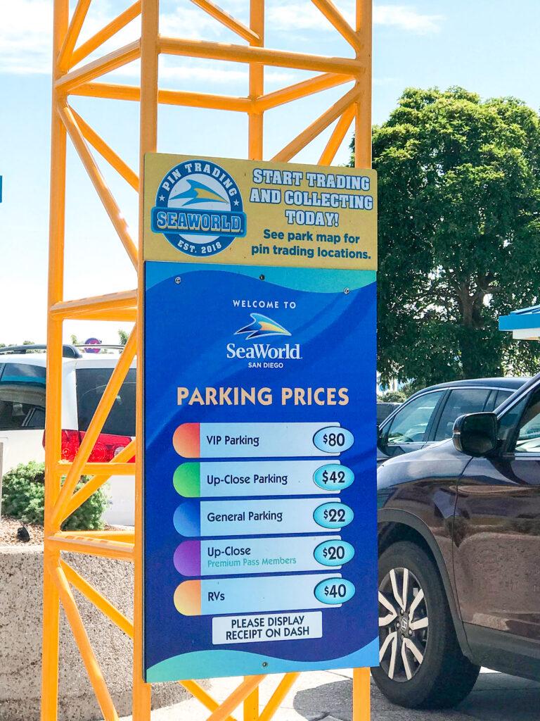 Parking Rates at Sea World.