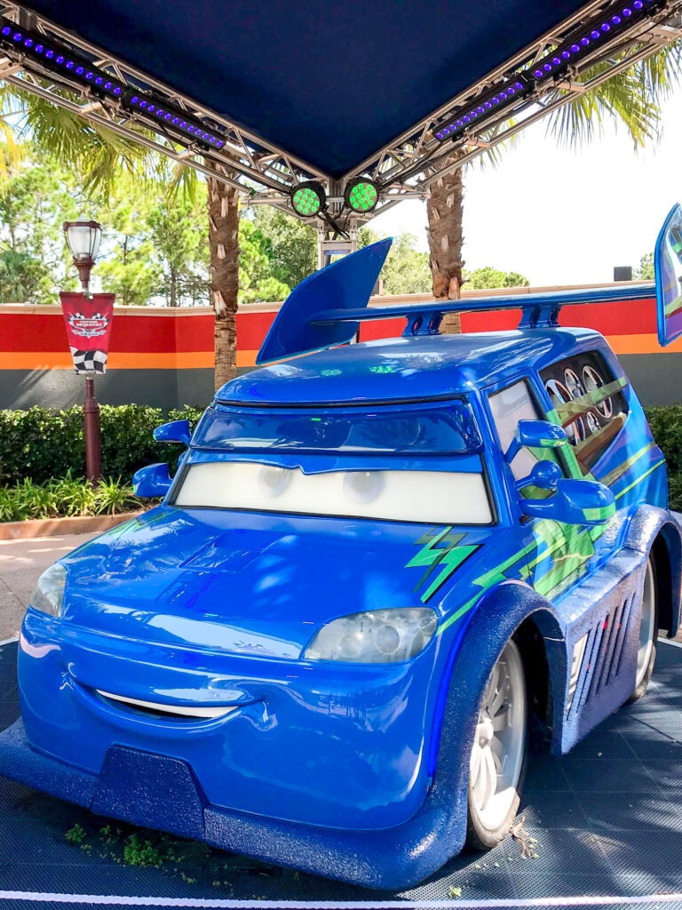 A life size character car from the movie Cars found at Disney's Hollywood Studios.