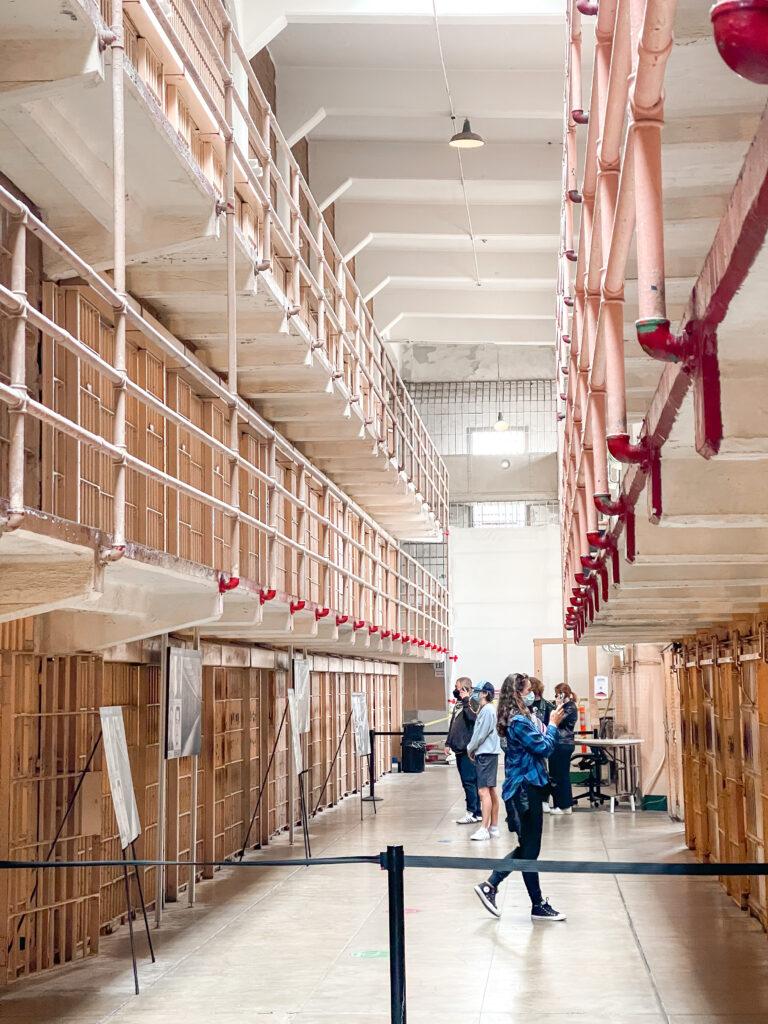 A row of prison cells at Alcatraz.