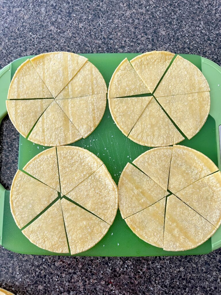 Four corn tortillas cut into sixths.