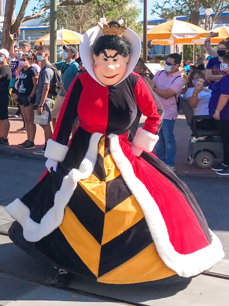 Queen of Hearts character at Disney World.
