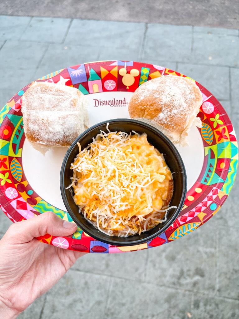 Chili & Macaroni with rolls from Refreshment Corner at Disneyland.