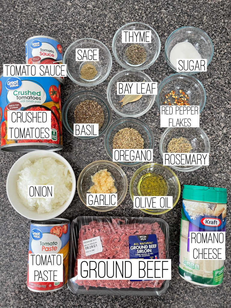 Ingredients to make homemade spaghetti sauce.