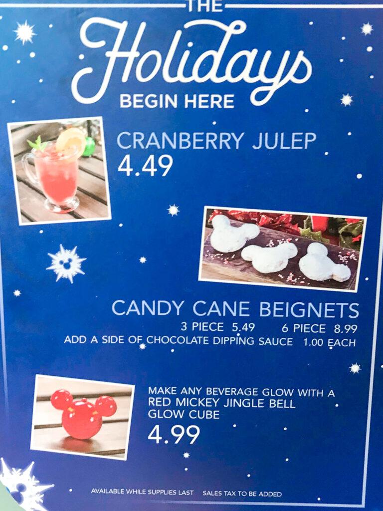 Holiday treats from Mint Julep Bar at Disneyland.
