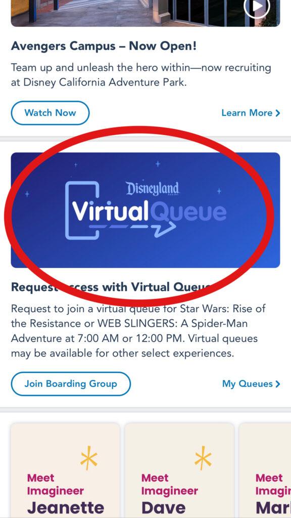 Disneyland Virtual Queue sign on Disneyland app.