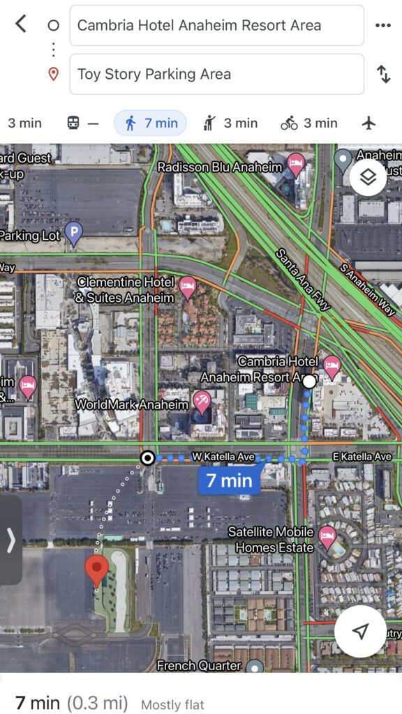Distance from Cambria Hotel Anaheim to Toy Story Parking Lot.