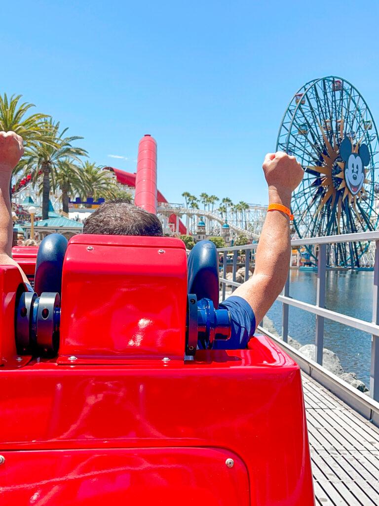 Riding Incredicoaster at Disney California Adventure.
