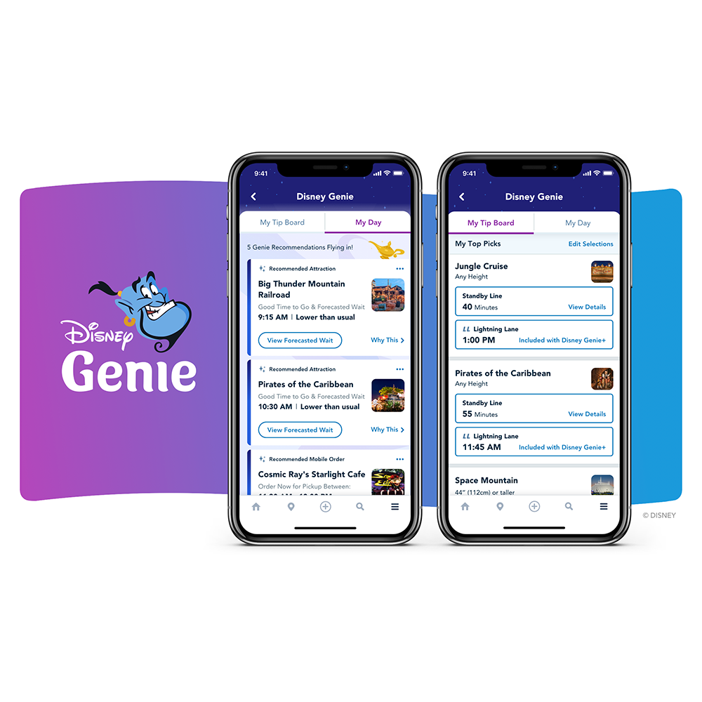 Disney Genie service on the screen of a smartphone.