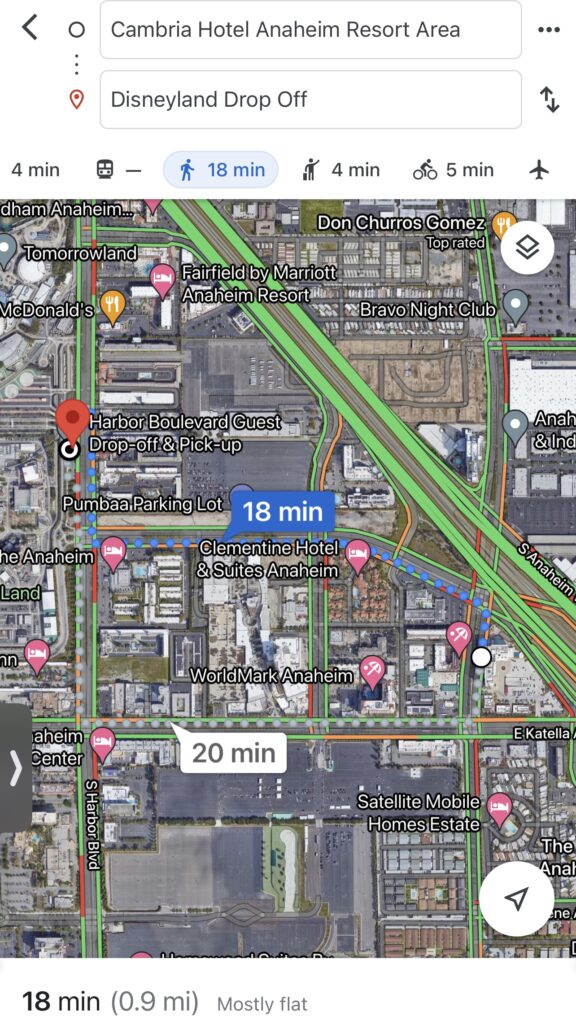 How to walk to Disneyland from Cambria Hotel.