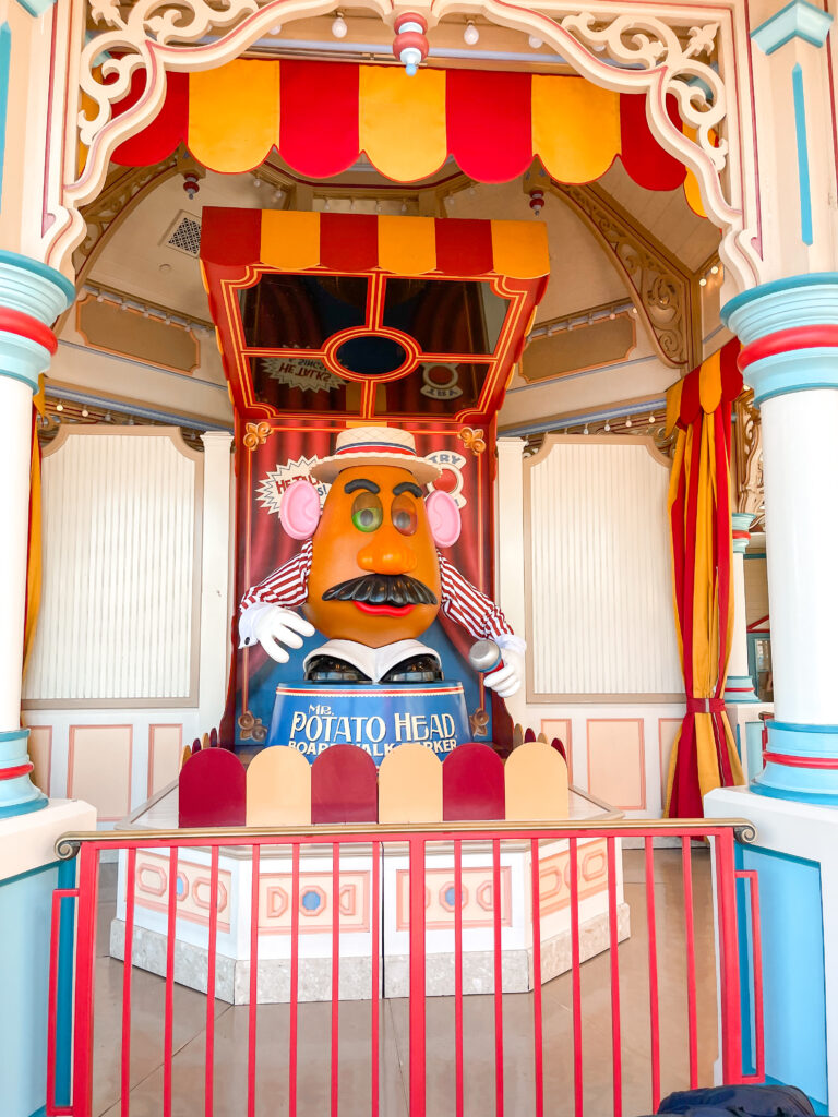 Mr. Potato Head outside Toy Story Mania at Disney California Adventure.