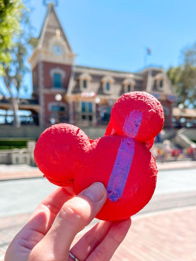Raspberry Rose Mickey Macaron from Jolly Holiday Bakery Cafe at Disneyland.