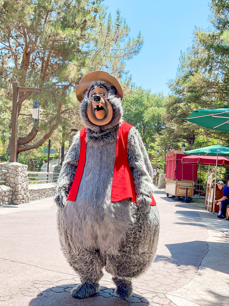 Disney character near Redwood Creek Challenge Trail at Disney California Adventure Park.