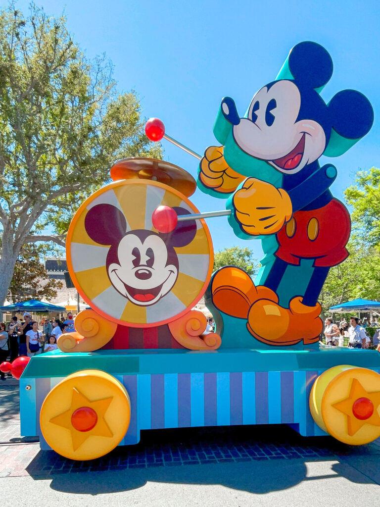 Mickey Mouse float from a parade on Main Street at Disneyland.