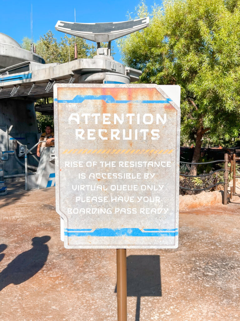 Entrance sign for Rise of the Resistance.