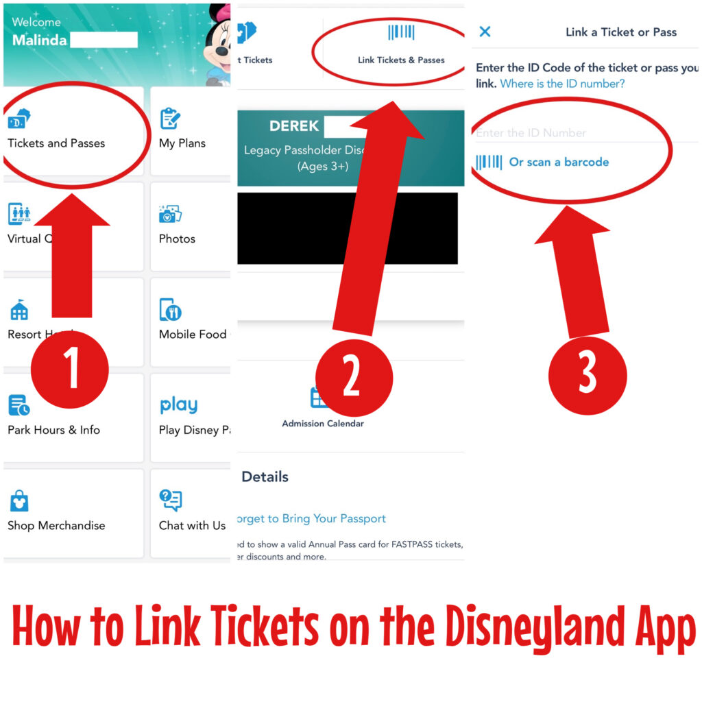Instructions to link tickets on the Disneyland app.