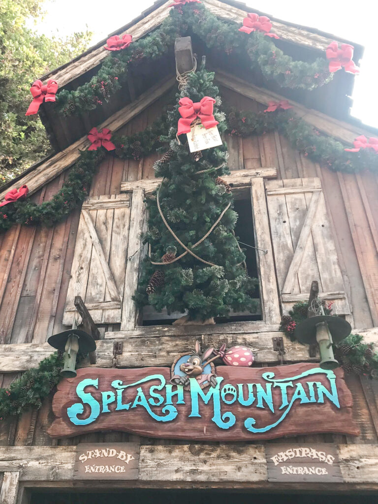 Splash Mountain decorated for Christmas.