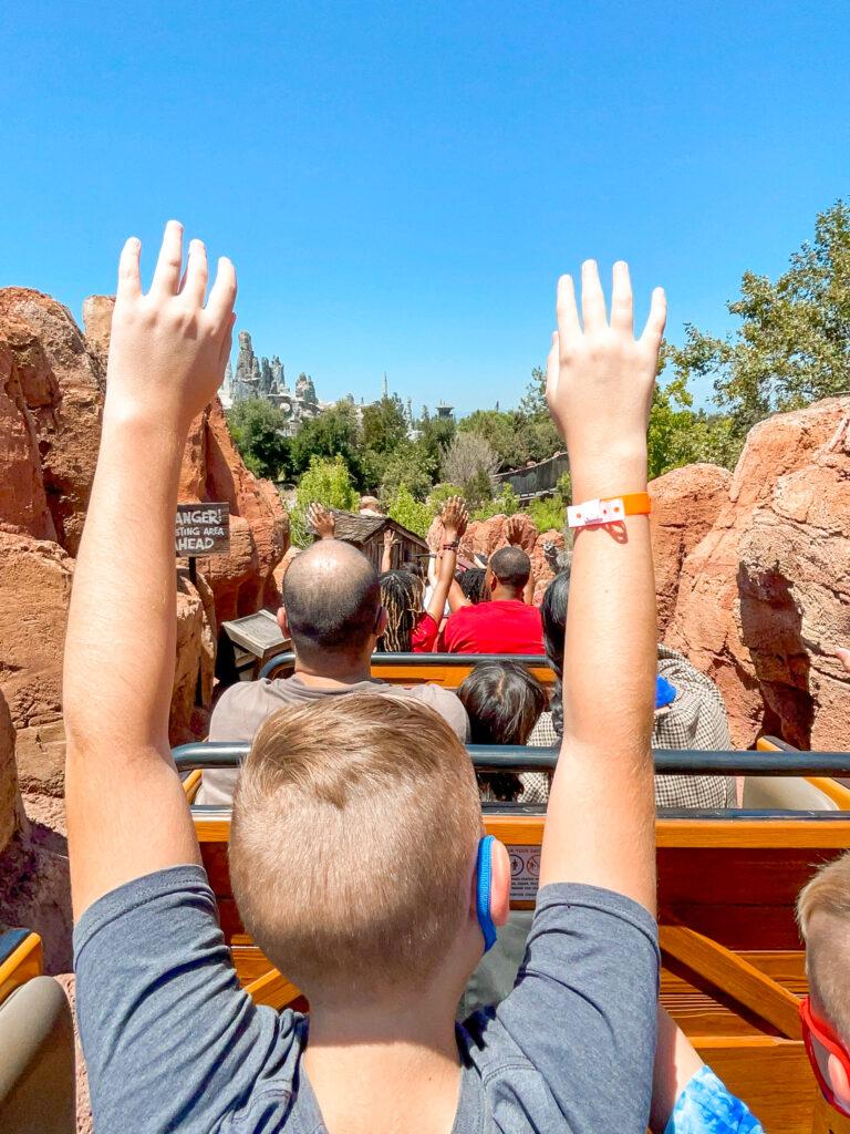 Riding Big Thunder Mountain at Disneyland.