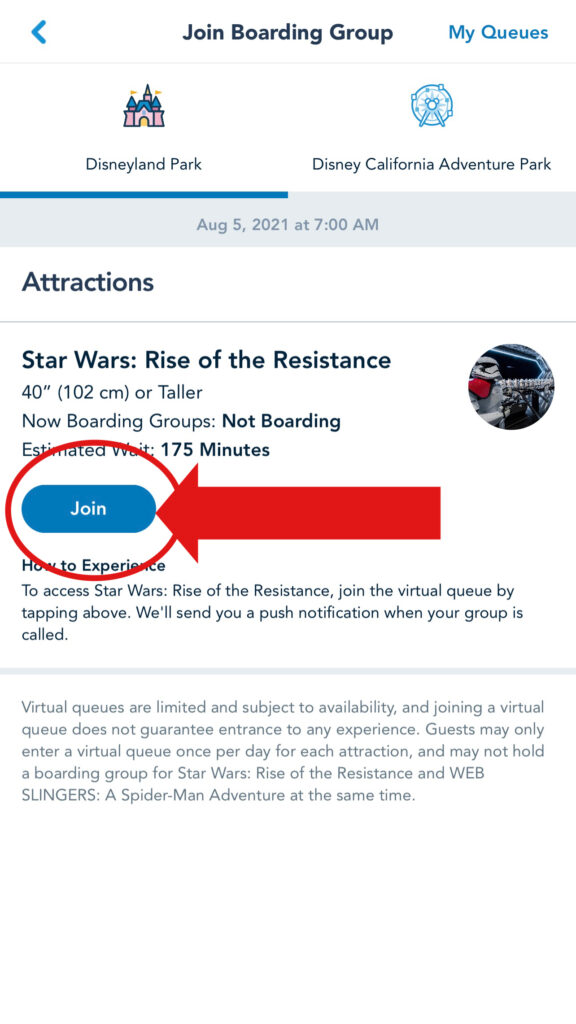 """Click """"join"""" to get into a boarding group for Rise of the Resistance and Web Slingers."""