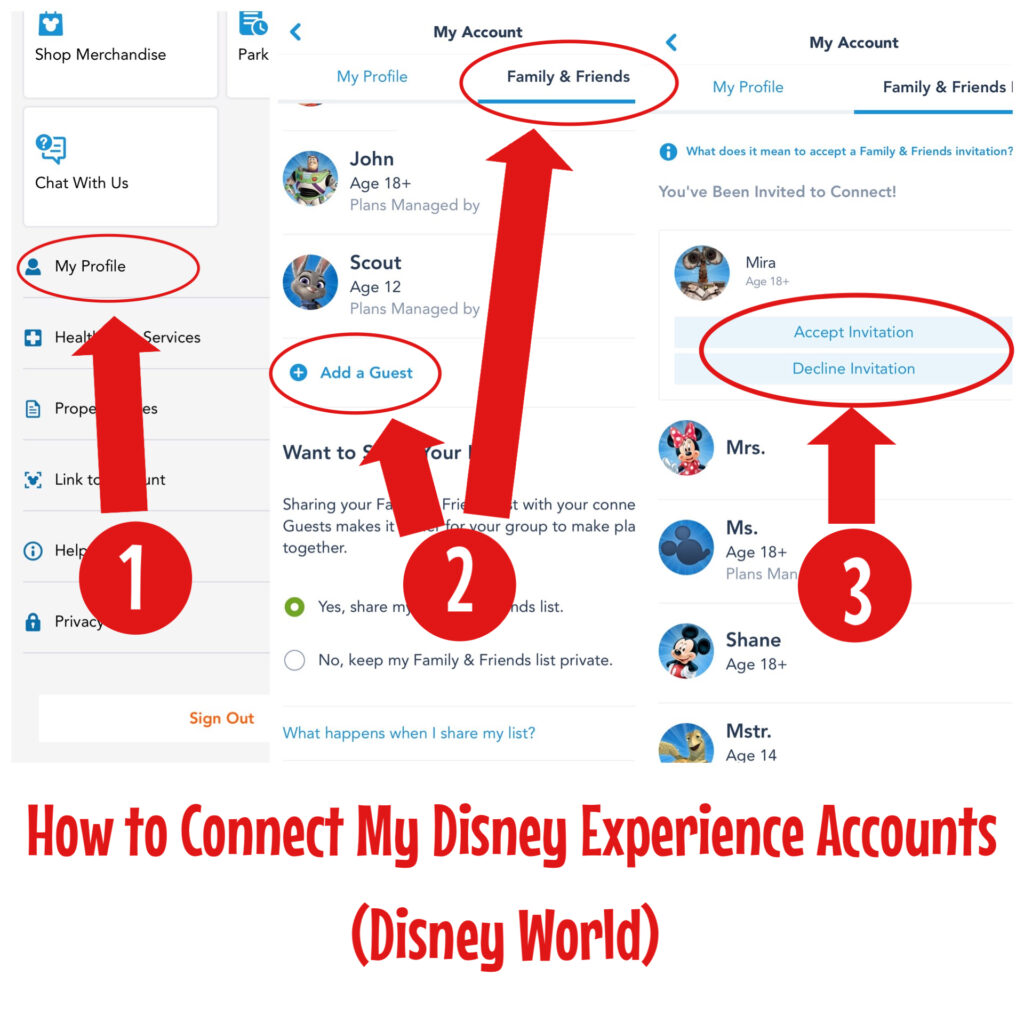 Instructions to link Disney accounts in the My Disney Experience app.