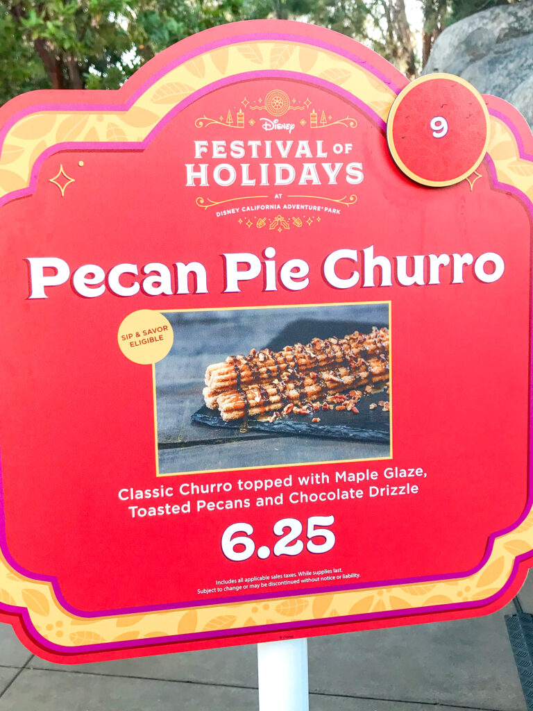 Sign for a Pecan Pie Churro at Disneyland.