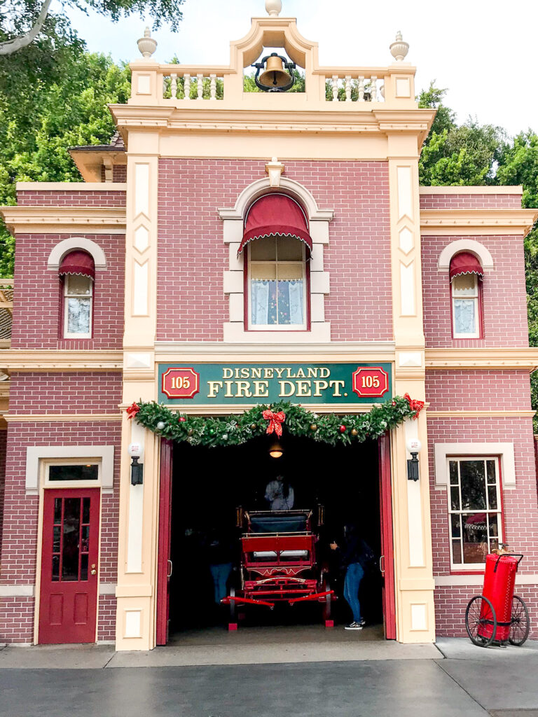 Disneyland Fire Station decorated for Christmas.