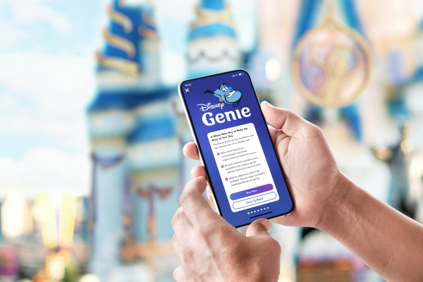 Disney Genie service on the screen of a smartphone at Disney World.