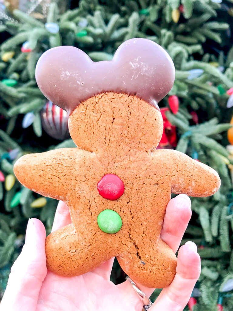 A Mickey Mouse gingerbread cookie.