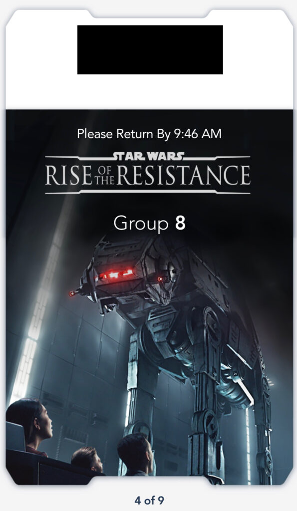 Boarding Pass for Rise of the Resistance.