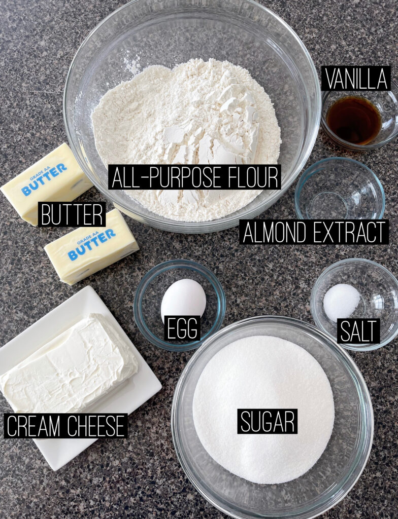 Ingredients needed to make Cream Cheese Sugar Cookie bars.