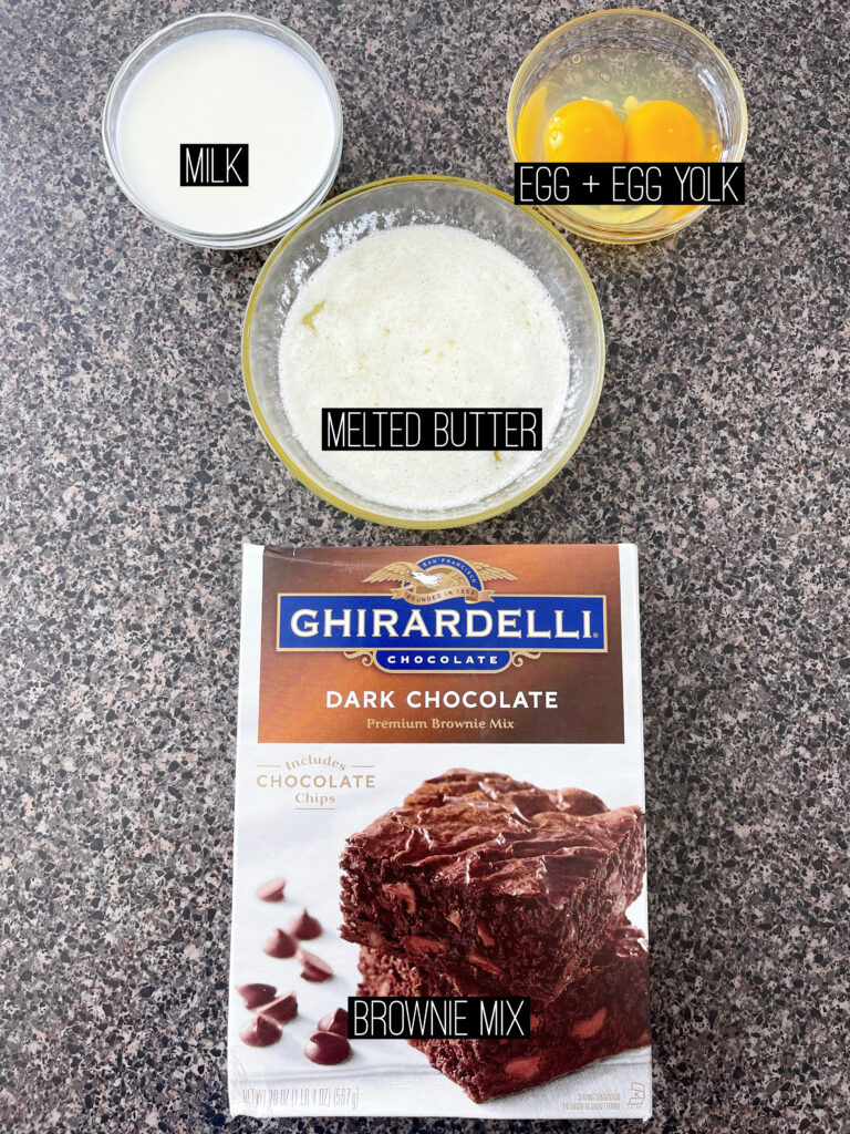 Ingredients for Choco-Smash Candy Bar Brownies.
