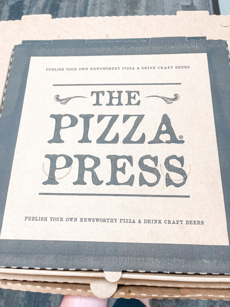 Pizza box from The Pizza Press in Anaheim.