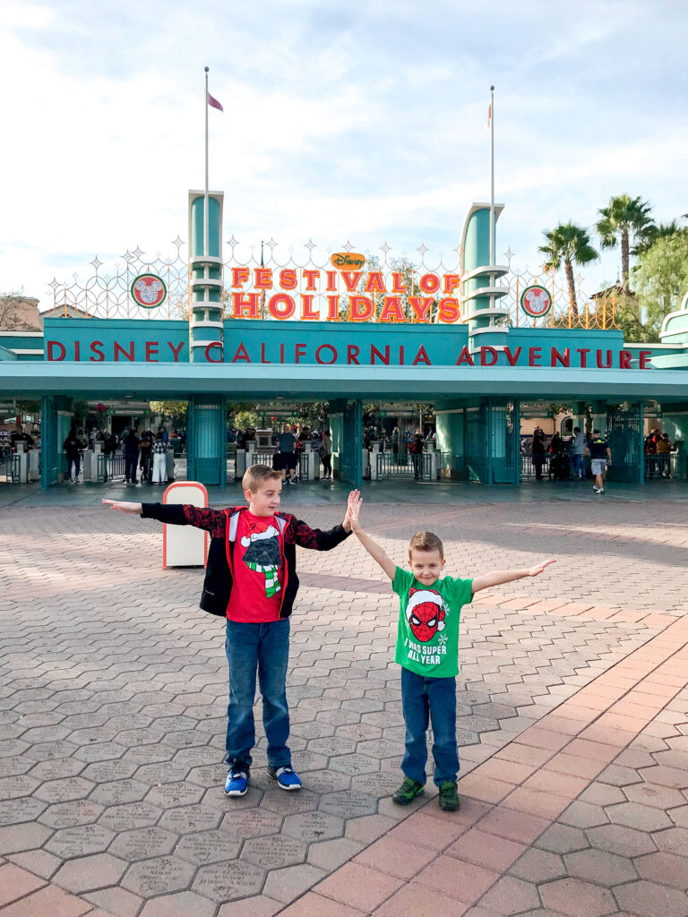 Disney California Adventure entrance decorated for Festival of Holidays.