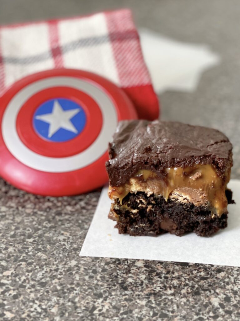 A Choco-Smash Candy Bar Brownie and a Captain America shield.