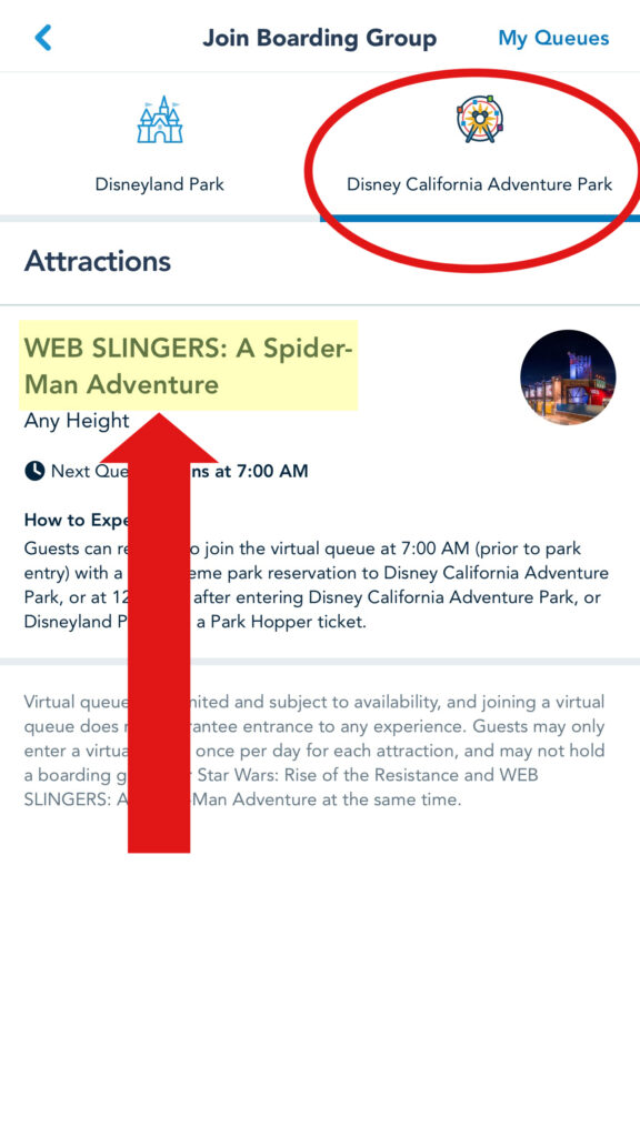 Choose Disney California Adventure for Web Slingers: A Spider-Man Adventure.